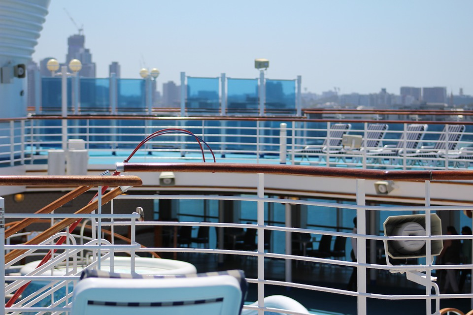 cruise deck railings in view of land