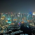 Dubai's skyline at nighttime